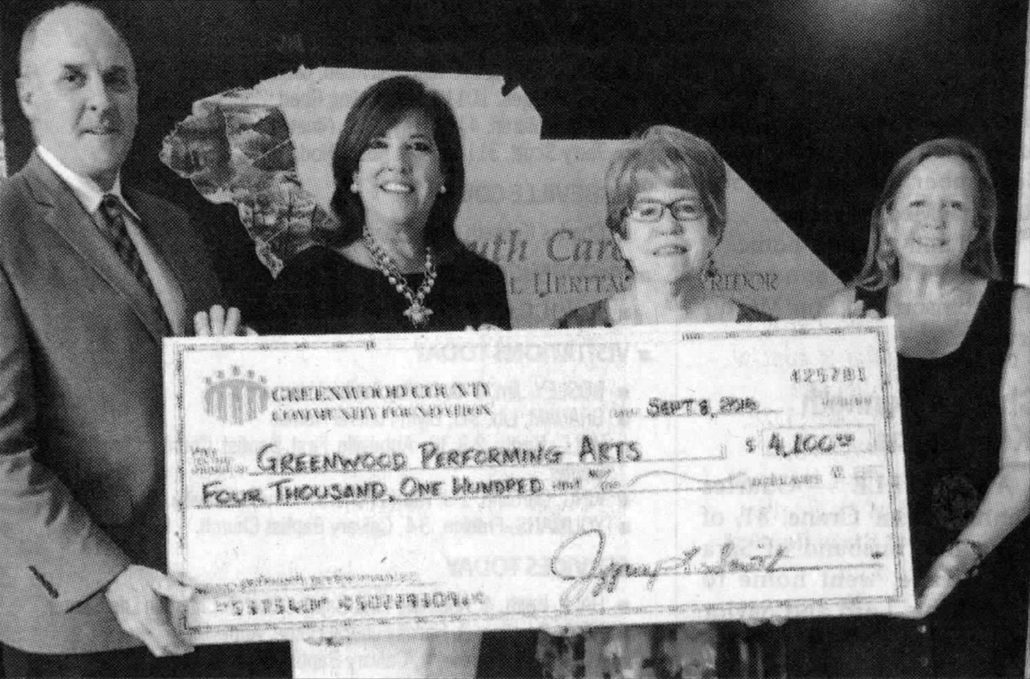 The Greenwood County Community Foundation recently awarded a $4,100 grant to Greenwood Performing Arts (GPA) in support of its outreach performances for Greenwood students and seniors, offered by professional artists throughout the GPA season. The first outreach performance will be by Melinda Doolittle, vocalist, on Oct. 7. For more information, call 864-227-8744. From left are Jeff Smith, GCCF president; Lisa Sanders, GPA board president; Cecily Ferguson, GPA executive director; and Mary Woodiwiss, GCCF projects and grants manager.